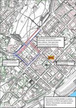 Kartta: Liikennejärjestelyt Cygnaeuksenkadulla