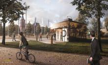 Havainnekuva kirkkopuiston P-paraati -pysäköintitalosta 2020