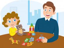 Lastenvalvojan esite lapselle. Piirroskuvassa lapsi ja aikuinen pöydän ääressä.