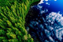Metsä- ja järviaisema taivaalta kuvattuna.