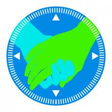 Pyöreä sininen Perhekompassin logo