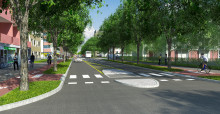 Puistokatu, puurivit kadun molemmin puolin, pyöräväylät yksisuuntaisina kadun molemmin puolin.