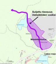 Karttakuva soidenlammen ulkoilualueen metsätöistä