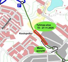 Touruvuoren ulkoilualueen työmaan kartta marraskuu 2020