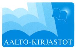 Sinivalkoinen kirjastokortti jossa kirjastokimpan nimi.