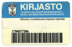Sinivalkoinen muovikortti, jossa Jyväskylän vaakuna.