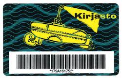 Kirjastokortti, jossa on keltainen sukellusvene.