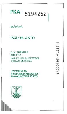 1980-luvun pääkirjastolla käytössä ollut lainakuitti.