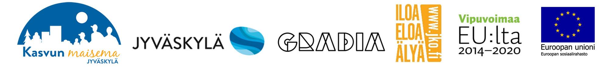 Toimijoiden logot - Jyväskylän kaupunki, Gradia, JKO, Euroopan unioni