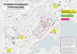 Pysäköintinormien vyöhykejako -ydinkeskusta ja jalnkulkuvyöhyke