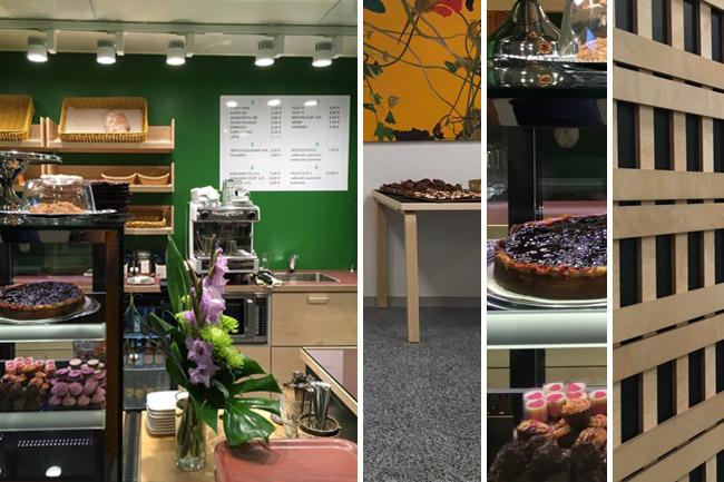 Säynätsalon kunnantalon kahvilan vitriinissä erilaisia makeita ja suolaisia herkkuja