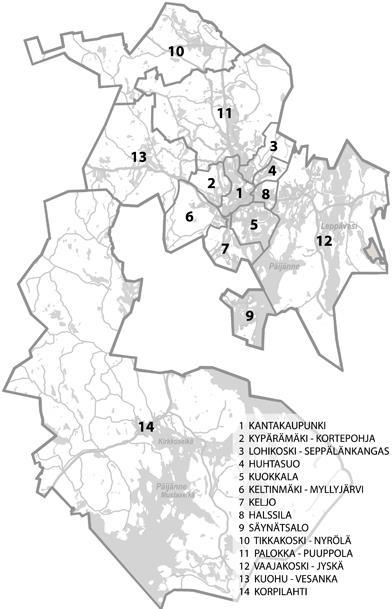 Kartta Jyväskylän alueista