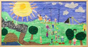 Huhtasuon 2A-luokan taideteos, missä iso aurinko ja leikkiviä lapsia