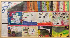 Huhtasuon 2A-luokan taideteos, missä kuvattuna erilaisia fantasialuokkahuoneita