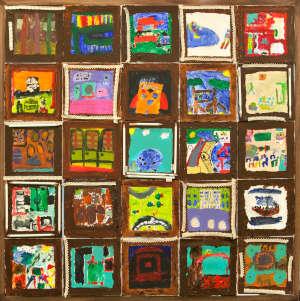 Keljon koulun 2A ja 2B -luokkien taideteos, missä askarreltuna erilaisia värikkäitä luokkahuoneita
